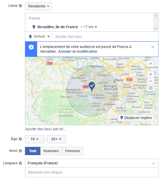 Ciblage des publicités Facebook
