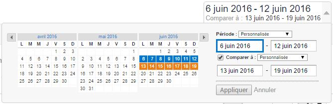 Comparer deux périodes avec Google Analytics