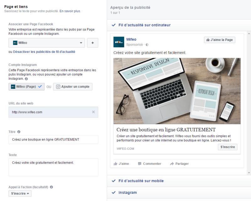 Création d'une publicité Facebook