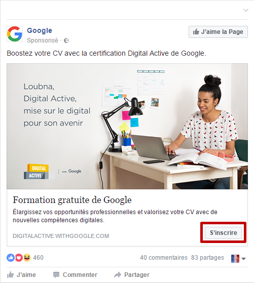 Call to action publicité Facebook