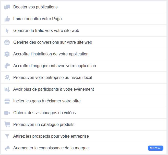 Choix campagne facebook