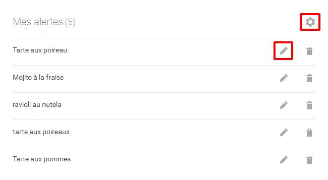 Paramétrage des alertes Google Alertes